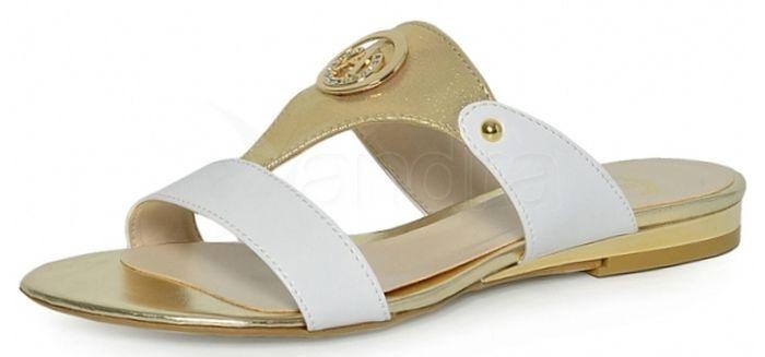 aec62639b4bb Elegantné šľapky 230 white gold Olivia - bielo-zlaté - kabelkyaobuv ...