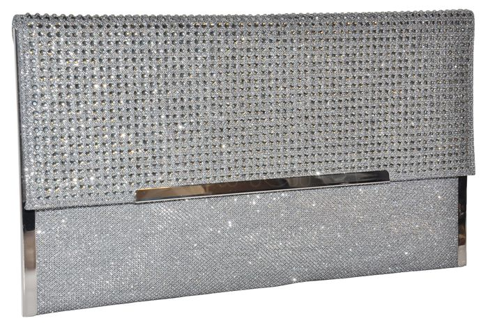 9d32a3a078 Spoločenská listová kabelka so zirkónmi - tmavá strieborná ...