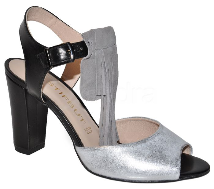 3e9e72ec6d2b Kožené sandálky so strapcami STIFBUT - čierno-strieborné ...