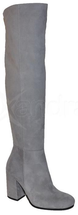 0b269e3cf Dámske kožené čižmy nad kolená BIZZARRO 8186 - šedé - kabelkyaobuv ...