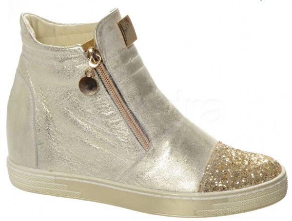 fb37e28f26b2 Kožená členková obuv K958 OLIVIA SHOES 8234 - jemne-zlaté ...