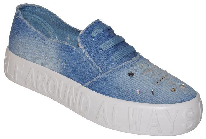 620205e9376cb Dámske riflové tenisky - vyššia platforna - 8691 - svetlo-modré ...