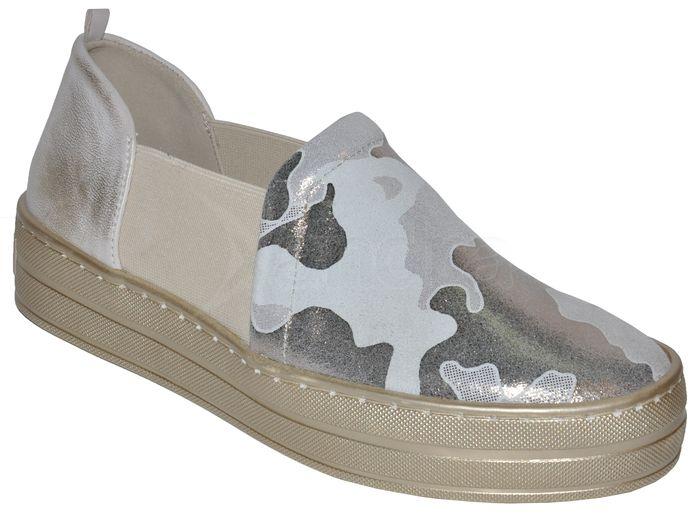Dámske kožené slip-on topánky PRIMA 8705 - maskáčové - kabelkyaobuv ... 1a8ad17f954