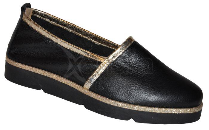 e672c026a1 Dámske kožené topánky OLIVIA 8776 - čierno-zlaté - kabelkyaobuv.sk ...