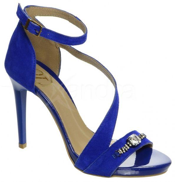 b4369fb378 Kožené spoločenské sandále DSA002 OLIVIA SHOES 8942 - modré ...