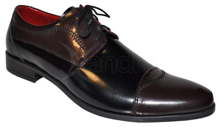 Pánske kožené spoločenské topánky 9027 - čierno-bordové ... f511e69eb4f