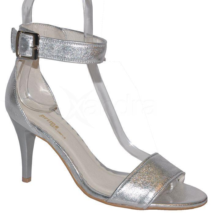 c94f40af450e Dámske kožené spoločenské sandálky PRIMA 9149 - strieborné ...