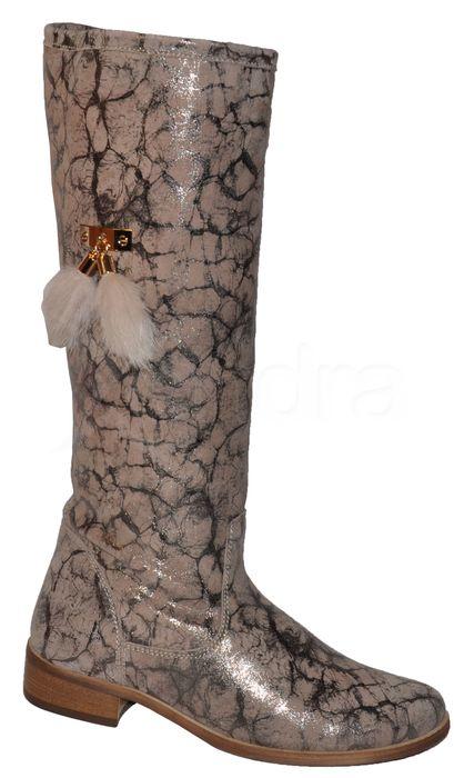 a76854f7741b Dámske kožené čižmy Olivia Shoes 9172 - béžové mramorové ...