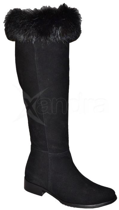 38e196c4f5 Dámske kožené čižmy Olivia Shoes 9173 s kožušinkou - čierne ...