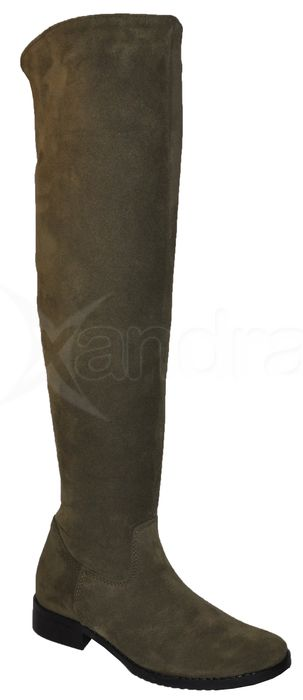 05081049b9 Dámske kožené čižmy nad kolená PRIMA 9252 - khaki zelené ...