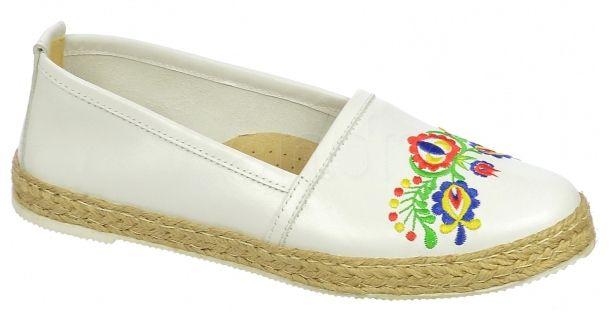 72ed86450 Kožené balerinky Olivia Shoes s folklórnou výšivkou DBA028 - 9527 - biele