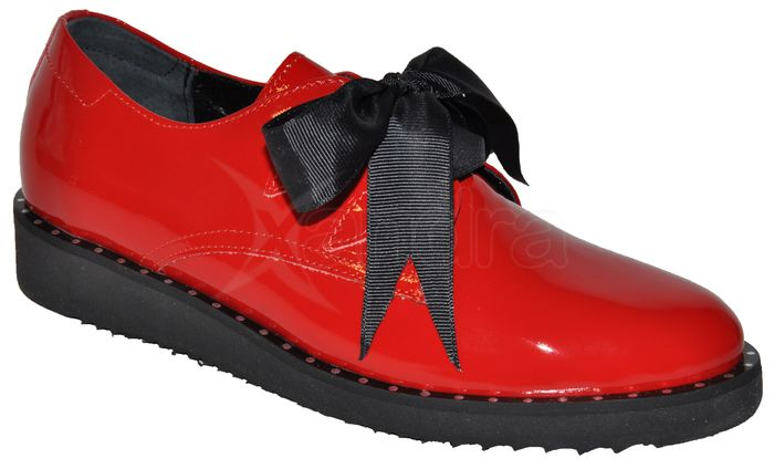 Dámske kožené poltopánky Marshall 9622 - červené LAK - kabelkyaobuv ... b67035d303