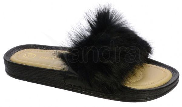 dfc9c9fb6cbb Dámske kožené vsuvky Olivia Shoes DSL031 s kožušinkou - 9633 - čierne