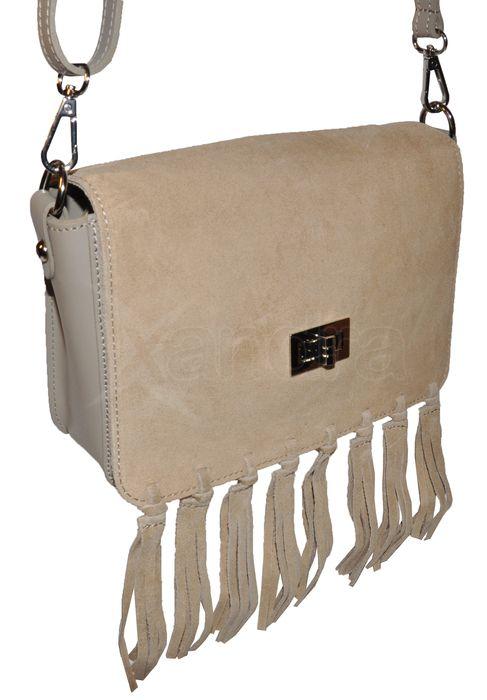bf7501e0f9 Dámska kožená crossbody kabelka 9693 - béžová so strapcami ...