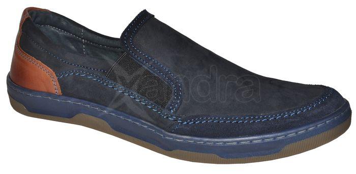5fb2d2d9b7 Pánske vychádzkové kožené topánky FOX 9701 - modré - kabelkyaobuv.sk ...