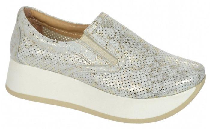 663b56c7e3cb Dámske kožené tenisky Olivia Shoes DTE075 - 9743 - bielo zlaté ...