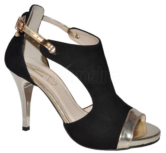 3c3a9291ac53e Dámske kožené sandálky 9754 - čierno zlaté - kabelkyaobuv.sk ...