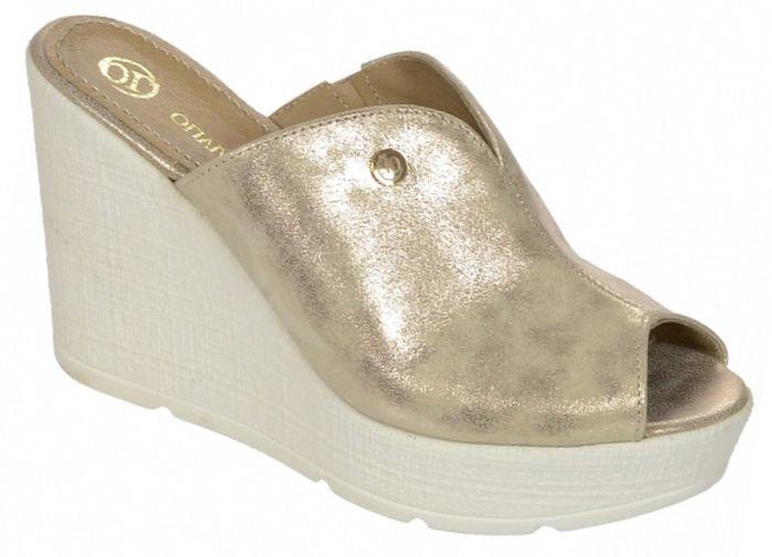 be7cb91cded7 Dámske kožené vsuvky Olivia Shoes na kline DSL 077 - 9790 - zlaté ...