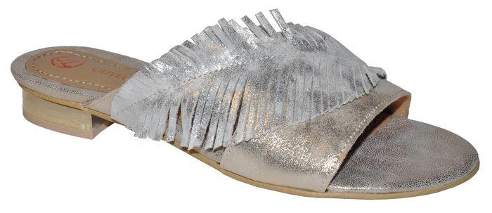 Dámske kožené vsuvky Olivia Shoes DSL057 - 9797 - zlato strieborné ... ae57110523c