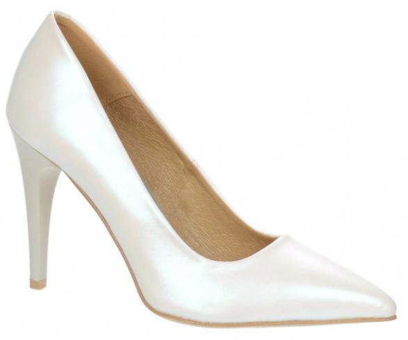 b0977bbe36000 Dámske kožené spoločenské lodičky Olivia Shoes 10072 - biele perleťové