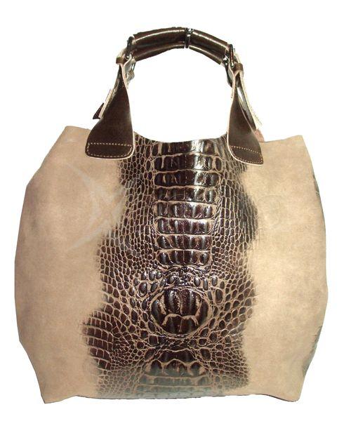 xDámska kožená kabelka - kroko hnedá - kabelkyaobuv.sk - Xandra e9a66883e85
