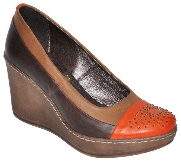 Kožené topánky na kline KARINO - hnedo-oranžové - kabelkyaobuv.sk ... 050ca01657f