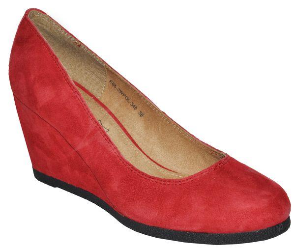 Kožené topánky na kline - červené - kabelkyaobuv.sk - Xandra 17eb15ab84