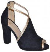 Kožené spoločenské sandálky BIZZARRO - modro-zlaté 6347ecf48d3