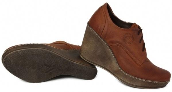 Kožené šnurovacie topánky na kline Karino - škoricovo-hnedé ... 5ecd6c77380