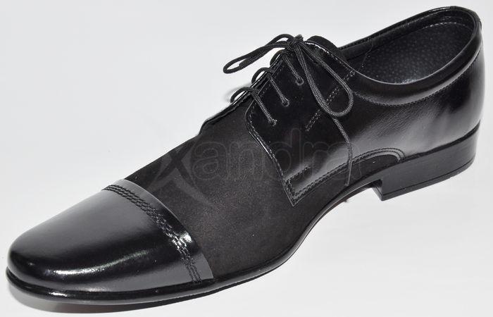 eb3c0782c5 Pánska kožená spoločenská obuv - čierna semiš-lak - kabelkyaobuv.sk ...