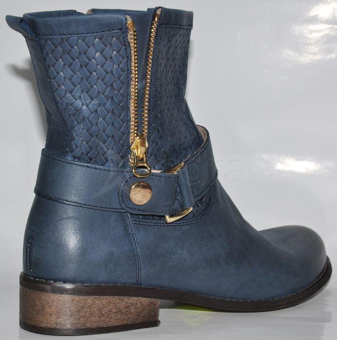 Štýlové kožené nízke čižmy KATI - modré - kabelkyaobuv.sk - Xandra ... 61747b899b2