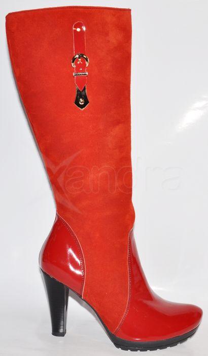78c34e2369af Dámske štýlové kožené čižmy - červené - kabelkyaobuv.sk - Xandra