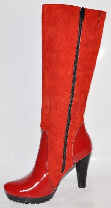 8d49e4cec8 Dámske štýlové kožené čižmy - červené - kabelkyaobuv.sk - Xandra