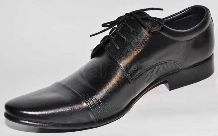 9cf684f66f Pánske kožené spoločenské topánky - čierne Pánske kožené spoločenské topánky  - čierne