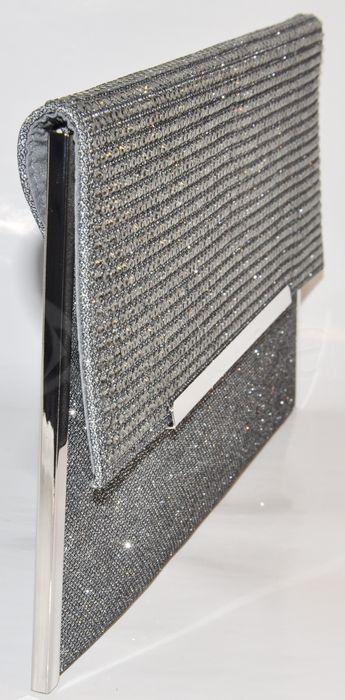 616e12e449 ... Spoločenská listová kabelka so zirkónmi - tmavá strieborná ...