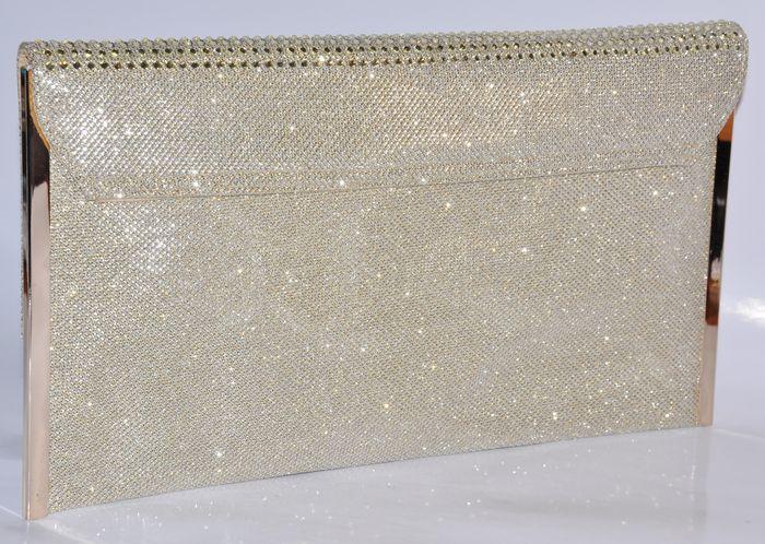 eb790c5d194d9 ... Luxusná spoločenská listová kabelka so zirkónmi - zlatá ...