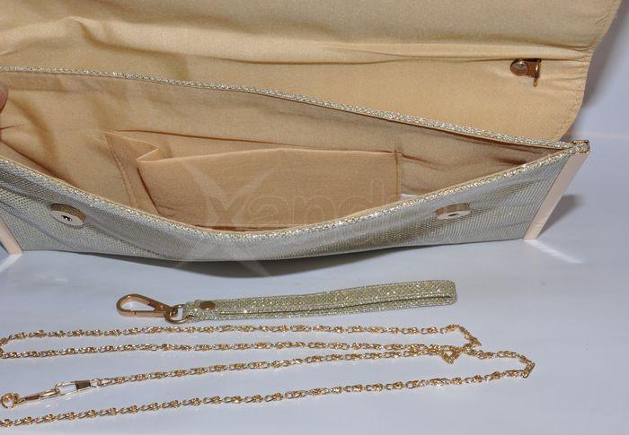 bba3a943cbbad Luxusná spoločenská listová kabelka so zirkónmi - zlatá ...