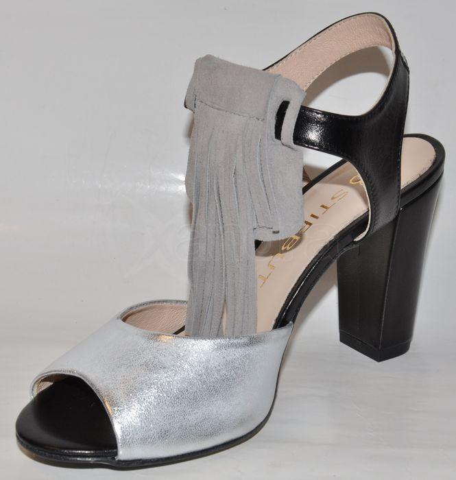 2b3bba5070d5 ... Kožené sandálky so strapcami STIFBUT - čierno-strieborné ...