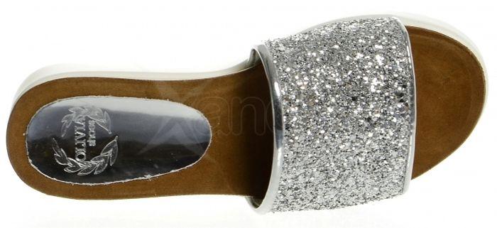 Kožené šľapky s hrubou podrážkou CA540 OLIVIA SHOES - strieborné ... 3c635f56830