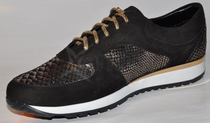 1cb7e392a ... Dámske kožené tenisky - K894 OLIVIA SHOES - 8078 - čierno-zlaté ...