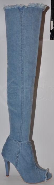 Krásne riflové dámske čižmy nad kolená 8694 - modré - kabelkyaobuv ... 3c768618fc0