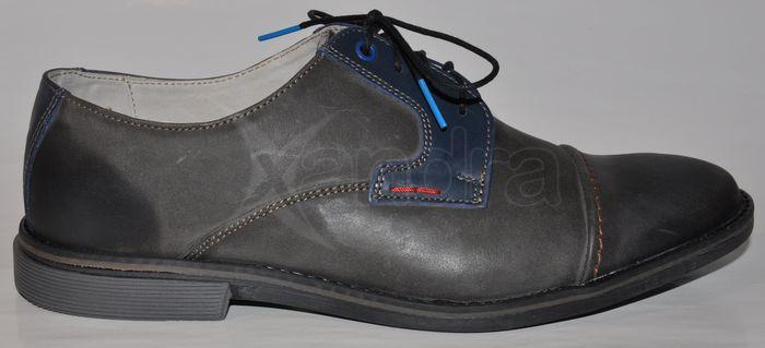 bd559d38c2 Pánske kožené vychádzkové poltopánky FOX 8816 - šedo-modré ...