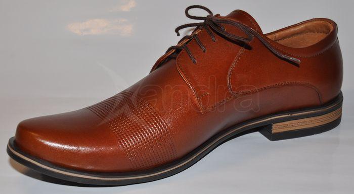 Pánske spoločenské kožené topánky 9244 FLEK - hnedé - škoricové ... 7bb1df1210a