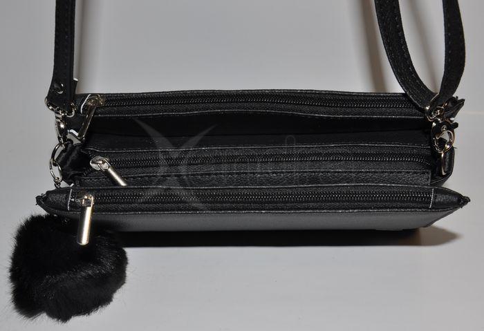 Dámska spoločenská kabelka Grosso s kožušinkou 9441 - čierna ... 1a3bca27058