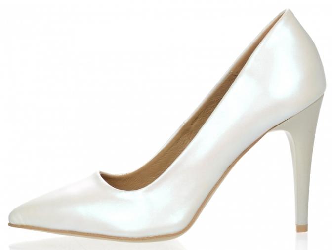 dc43ad809834a ... Dámske kožené spoločenské lodičky Olivia Shoes 10072 - biele perleťové  ...