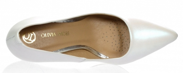 20735269b ... Dámske kožené spoločenské lodičky Olivia Shoes 10072 - biele perleťové