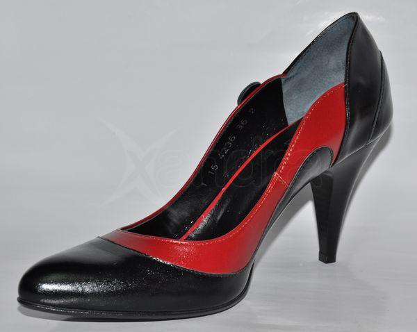 Kožené lodičky - čierno-červené Kožené lodičky - čierno-červené f7a29b9198