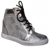 d74303db0a361 Dámske kožené kotničky so skrytým klinom - Olivia shoes 8237 - strieborné