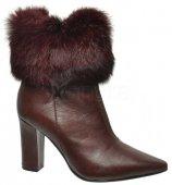 Dámske kožené kožušinové kotniky Olivia Shoes DKO 008 - bordové 9167 0e3251f76c1