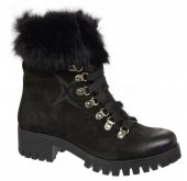 5969aa154793e Dámske kožené kotniičky s kožušinkou Olivia Shoes B1809 - 9904 - čierne